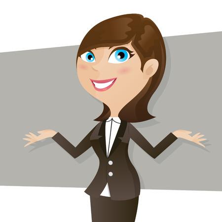 illustration of cartoon smart girl in business form