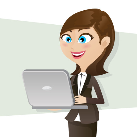 illustration of cartoon smart girl using computer notebook