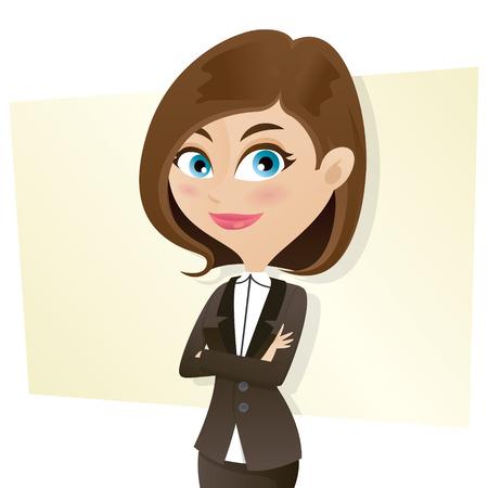 employ� heureux: illustration de bande dessin�e intelligente fille en uniforme d'affaires avec les bras crois�s