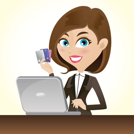 woman credit card: illustration of cartoon smart girl with credit cards and laptop