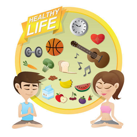 concentrating: illustration of boy and girl meditating with healthy life icons background.