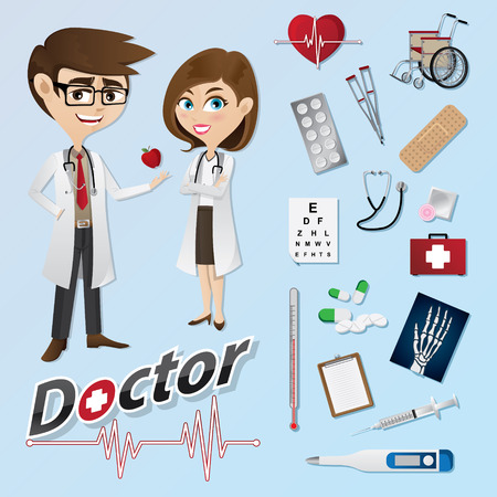 illustration of cartoon doctor with medical instruments. can use for icons and infographic. Vectores