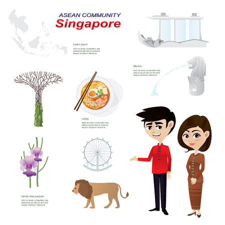 asian culture: Illustration of cartoon infographic of singapore community. Use for icons and infographic. Contain traditional costume national flower animal food and landmark.