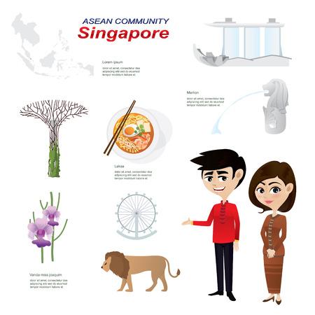cultura: Ilustración de infografía de la historieta de la comunidad de Singapur. Utilice para los iconos y infografía. Contener traje tradicional comida y monumento nacional de la flor animal. Vectores