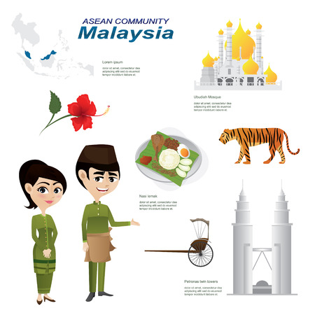 Illustration of cartoon infographic of malaysia  community. Use for icons and infographic. Contain traditional costume national flower animal food and landmark. Vectores