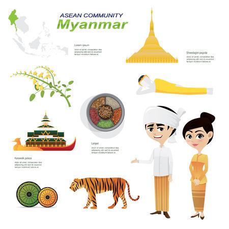 ミャンマー コミュニティの漫画インフォ グラフィックのイラスト。インフォ グラフィック アイコンに使用します。伝統的な衣装の国花動物性食品
