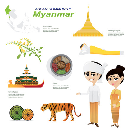 landmarks: Illustration of cartoon infographic of myanmar  community. Use for icons and infographic. Contain traditional costume national flower animal food and landmark.