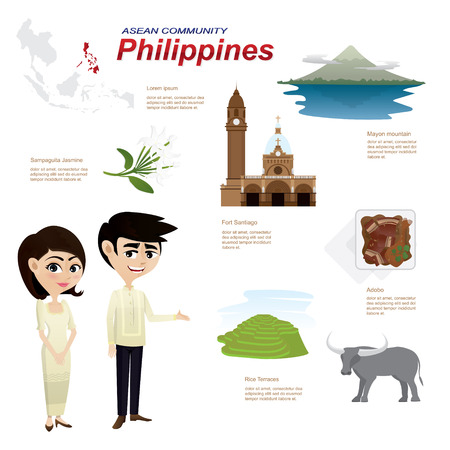 asian culture: Illustration of cartoon infographic of philippines community. Can use for infographic and icons.