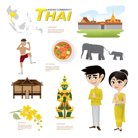 landmarks: Illustration of cartoon infographic of thailand community. Can use for infographic and icons.