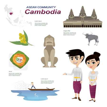 Illustratie van cartoon infographic van Cambodja. Gebruik voor iconen en infographic. traditioneel kostuum nationale bloem dierlijk voedsel en landmark.