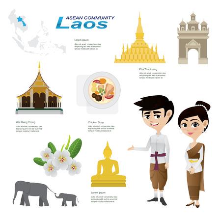 ラオスの漫画インフォ グラフィックのイラスト。インフォ グラフィック アイコンに使用します。伝統的な衣装の国花動物性食品とランドマーク。