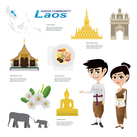 landmark: Illustration of cartoon infographic of laos. Use for icons and infographic. traditional costume national flower animal food and landmark. Illustration