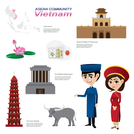 vietnam: Illustration of cartoon infographic of vietnam. Use for icons and infographic. traditional costume national flower animal food and landmark.