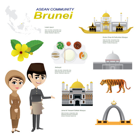 Illustration of cartoon infographic of brunei. Use for icons and infographic. traditional costume national flower animal food and landmark. 向量圖像