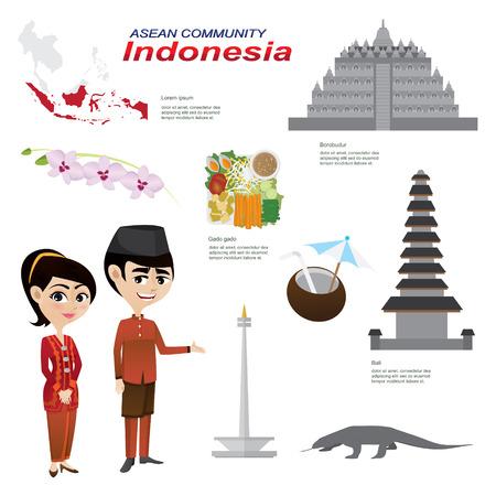インドネシアの asean 共同体の漫画インフォ グラフィックのイラスト。インフォ グラフィック アイコンに使用します。伝統的な衣装の国花動物性食  イラスト・ベクター素材