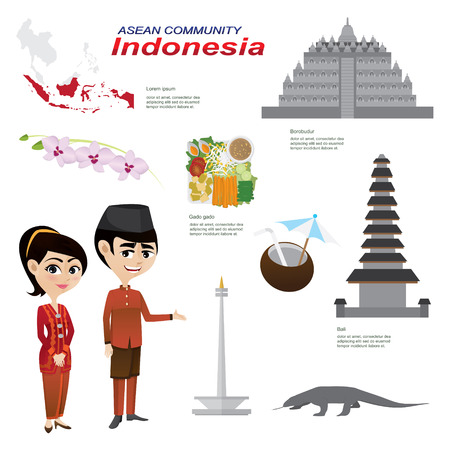 Illustration d'infographie de bande dessinée de l'Indonésie Communauté de l'ASEAN. Utilisez les icônes et infographie. alimentaire nationale costume traditionnel animal fleur et historique.