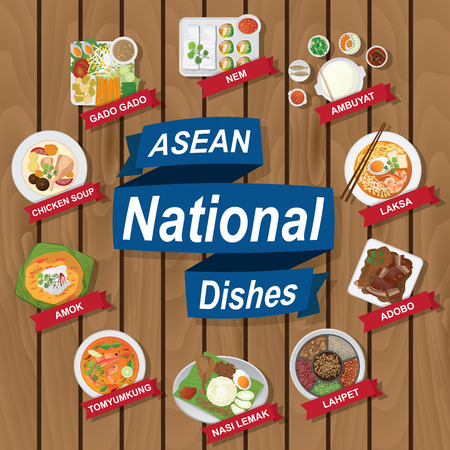 aec: illustration of National dishes of ASEAN on wooden background.