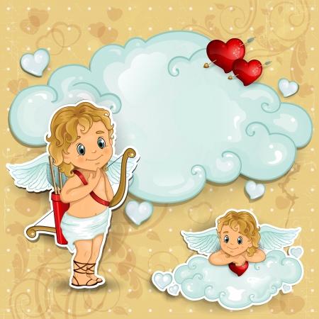 amor: Amor auf den Wolken und rote Rosen mit Hintergrund im Alter Illustration