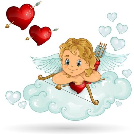 Cloud Cupid with red hearts transparency-blending effects and gradient mesh