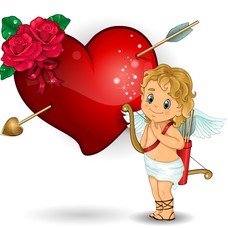 Cupid with heart hit by an arrow and decorations of red roses transparency-blending effects and gradient mesh Vector