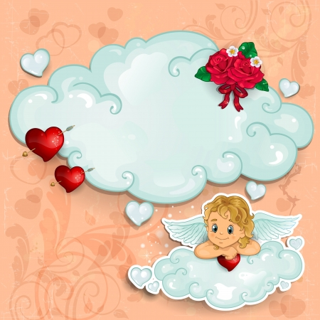 angel roses: Cloud Cupid with red hearts and pink background Illustration
