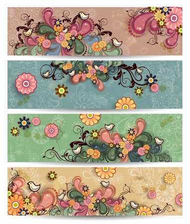 Four floral banners with flowers and birds colorful decoration lights-transparency and blending effects gradient mesh Stock Vector - 17266378