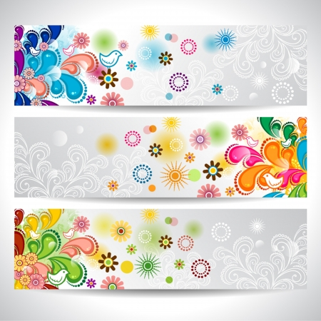 Three banners with flowers, floral decorations and lights birds Stock Vector - 17266376
