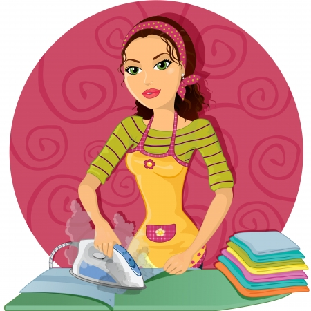 steam iron: Housewife ironing clothes with steam iron, round bottom, and the effects of transparency and gradient mesh-merger Illustration