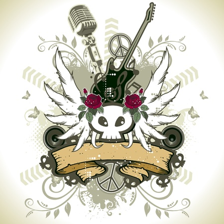Floral design with skull rock guitar and microphone Vector