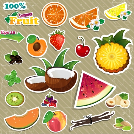 Set of stickers mix of various fruit, with transparency written melting age and background gradient mesh Vector