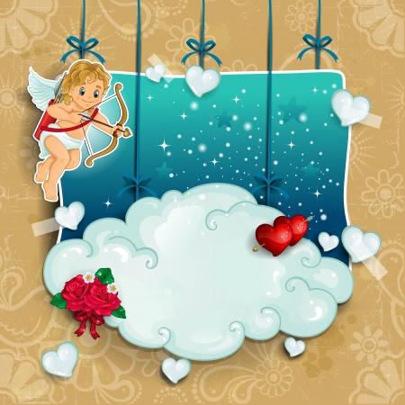 雲のキューピッド ペンダント ローズ ハートと星透明ブレンド効果とグラデーション メッシュ  イラスト・ベクター素材
