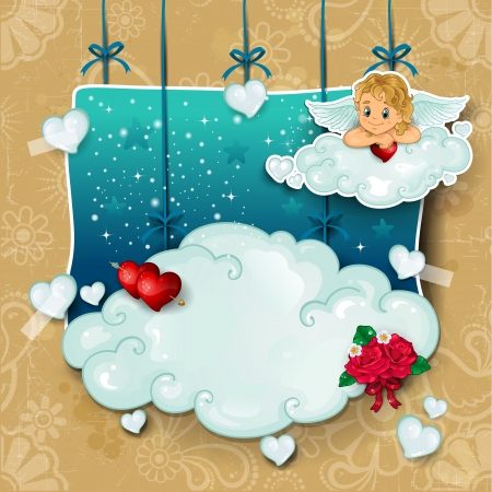 cupid pendant in the clouds rose with hearts and stars Vector