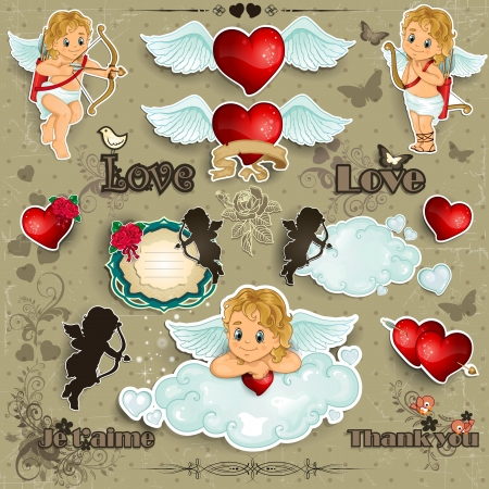 catoon: Set cupid hearts and decorations for valentine-transparency blending effects and gradient mesh Illustration