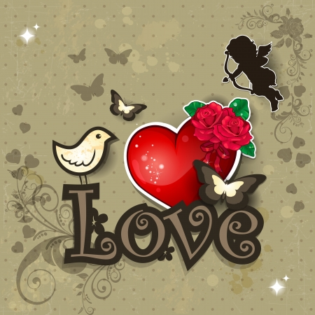 Vintage background with love written with heart and bird decorations-transparency blending effects and gradient mesh-EPS 10 Stock Vector - 17467417