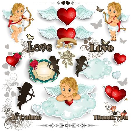 心とバレンタイン透明ブレンド効果やグラデーション メッシュ EPS 10 装飾キューピッドを設定します。