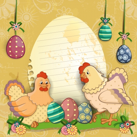 egg shaped: Paper ticket egg shaped with chicken and easter eggs most decors-tiered-transparency blending effects and gradient mesh Illustration