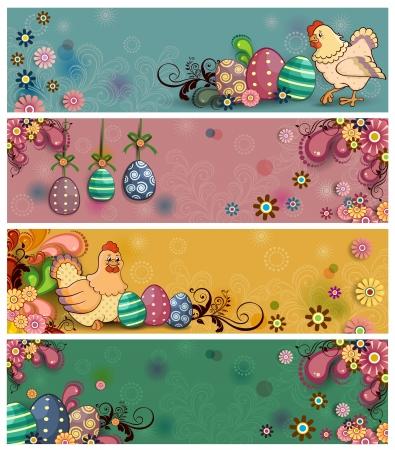 Cuatro banderas florales adornado con huevos de Pascua y gallinas en varios niveles: