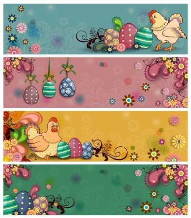 Four floral banners decorated with Easter eggs and hens on several levels- Vector