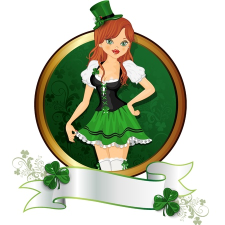 girl with traditional dress of the feast of St. Patrick with banner-multiple levels-transparency blending effects and gradient mesh Illustration
