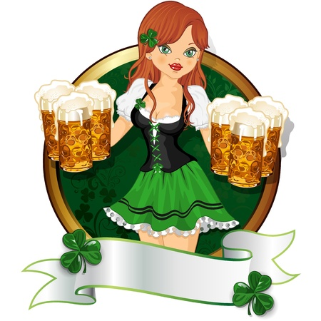 green beer: Waitress dressed in green with beer mugs decorated rim-multiple levels-transparency blending effects and gradient mesh