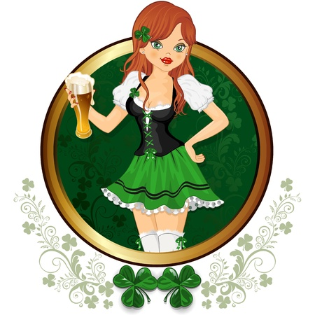 Waitress dressed in green with a glass of beer decorated rim-layer transparency-blending effects and gradient mesh