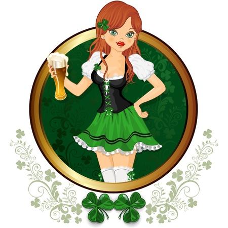 ビールの装飾リム層透明ブレンド効果やグラデーション メッシュのガラスと緑で服を着たウェイトレス 写真素材 - 17923438