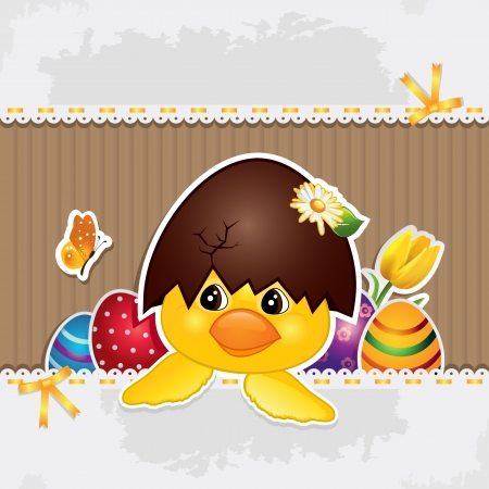 easter chick: Chick with broken egg on the head with lace and bows-without the effects of transparency-EPS 8