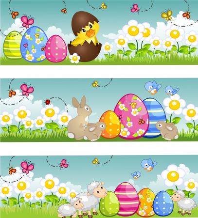 pasen schaap: Drie banners Pasen met bunny eendje lammeren-Tiered-zonder de effecten van transparantie-, EPS, 8 Stock Illustratie