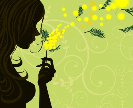 mars: Silhouette de femme de profil, avec un brin de mimosa-couche non transparente Illustration