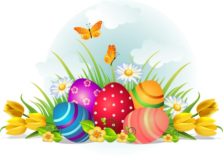 openair: Easter eggs with flowers and butterflies on grass outdoors--without the effects of transparency EPS 8