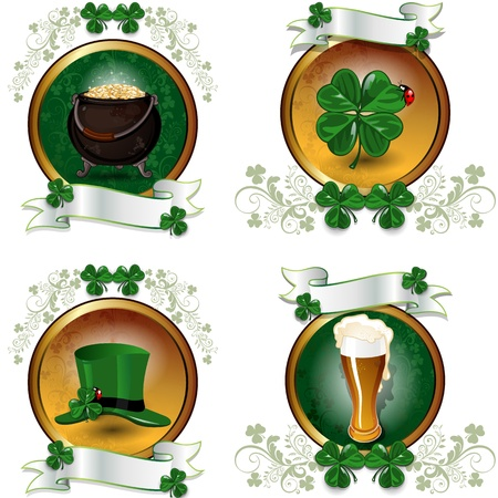 Set four symbols of the feast of St. Patrick-transparency blending effects and gradient mesh-EPS10 Stock Vector - 18002229