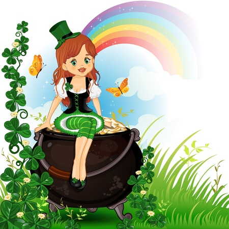 Elf girl sitting on pot of gold with grass and clover- Vector