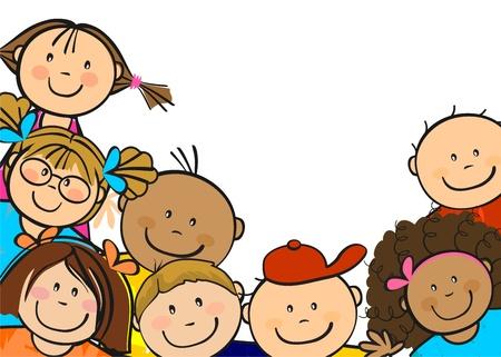 escuela caricatura: Los niños de todo el mundo juntos