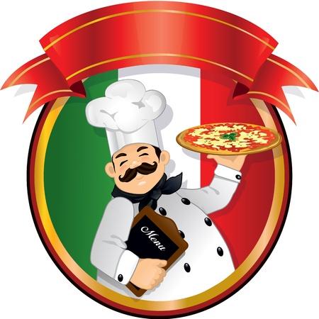 Chef sosteniendo una pizza y un menú dentro de un círculo, la bandera italiana y la pancarta roja